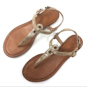 Frye Metallic Gold Leather Thong Sandals